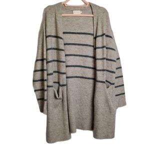 Dreamers Striped Open-Front Duster Cardigan